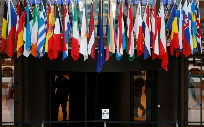 Flags of the EU member states in Brussels.