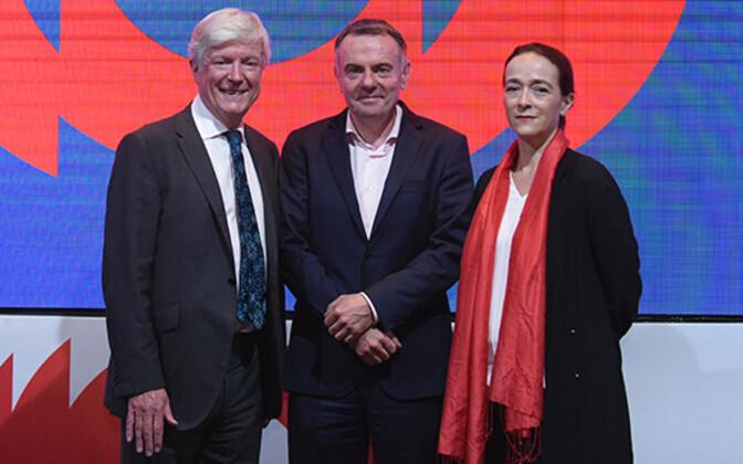 Tony Hall (vasakul), Noel Curran, Delphine Ernotte Cunci
