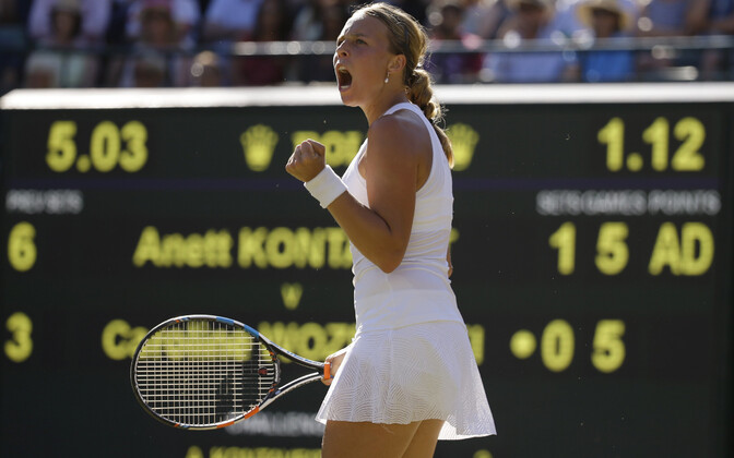Anett Kontaveit in action at last year's Wimbledon finals, where she reached the third round.