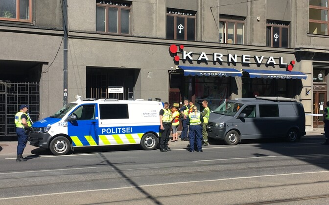 Outside the bar in the centre of Tallinn, where the shooting took place.