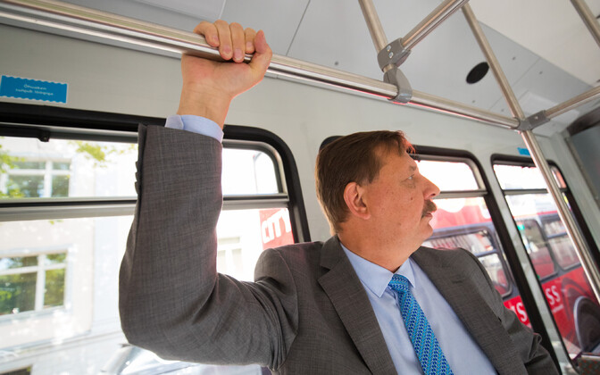 Mayor Taavi Aas using public transport in Tallinn.