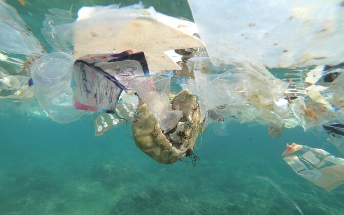 Plastprügi Austraaliale kuuluva Jõulusaare ümbruses.