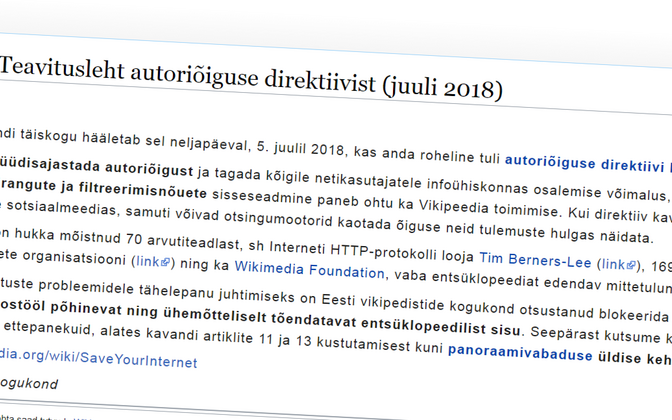 Estonia's Wikipedia authors blocked access to the encyclopaedia early on Wednesday morning.