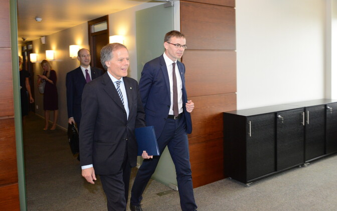Italian Minister of Foreign Affairs Enzo Moavero Milanesi with Minister of Foreign Affairs Sven Mikser (SDE) in Tallinn on Wednesday. 4 July, 2018.