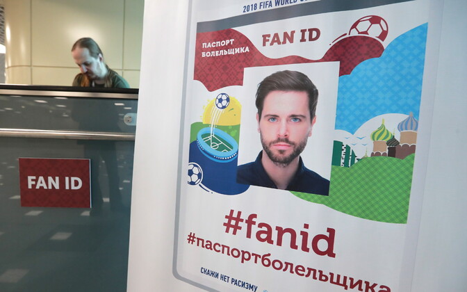 A FIFA World Cup Fan ID desk at Moscow Domodedovo Airport.