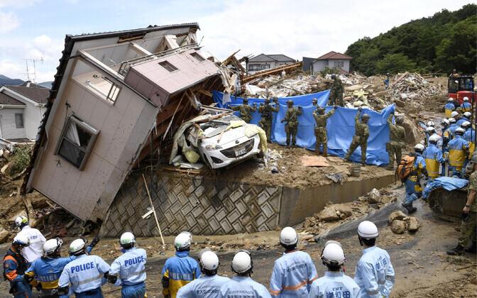Päästetööd Hiroshima prefektuuris.