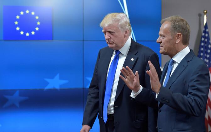 Donald Trump ja Donald Tusk 2017. aasta mais Brüsselis.