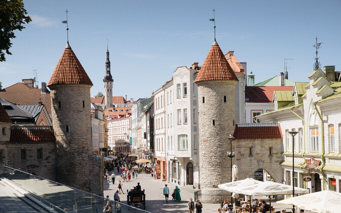 Viru Gate at the edge of Tallinn's medieval Old Town.