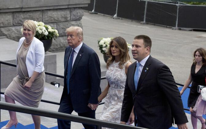 Jüri Ratas, Karin Ratas, Donald Trump ja Melania Trump NATO tippkohtumisel