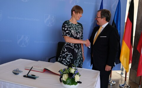 Kersti Kaljulaid in Düsseldorf with Armin Laschet.