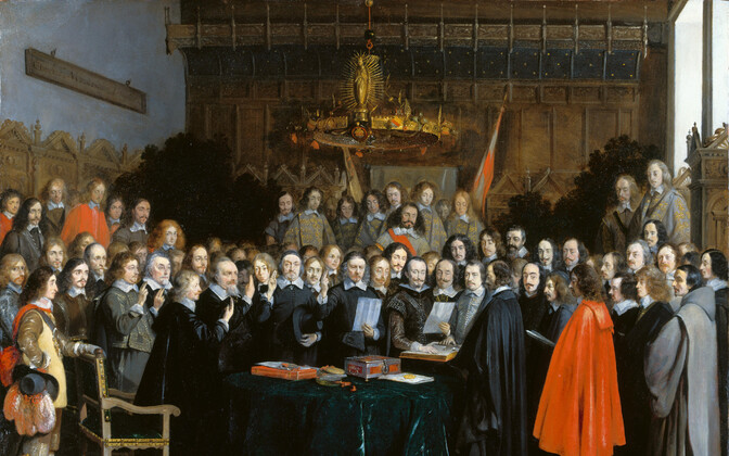 Contemporary painting of the signing of the Treaty of Westphalia on 15 May 1648, by Gerard ter Borch