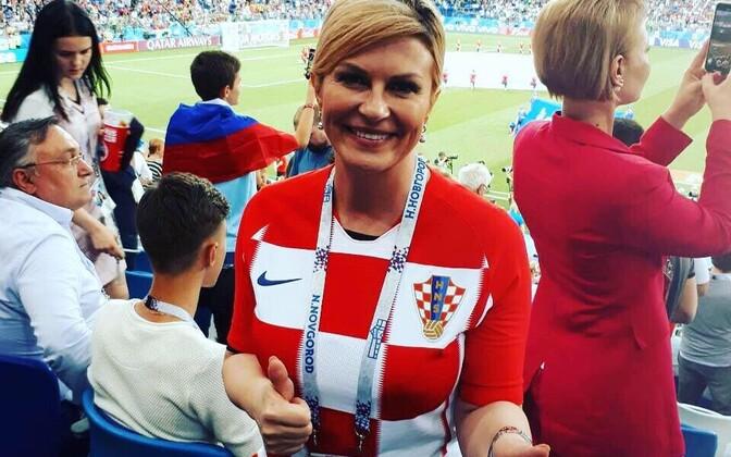 Президент Хорватии Колинда Грабар-Китарович на чемпионате мира в России.