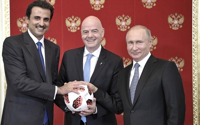 Эмир Катара Тамим бен Хамад Аль Тани, президент FIFA Джанни Инфантино и президент РФ Владимир Путин.