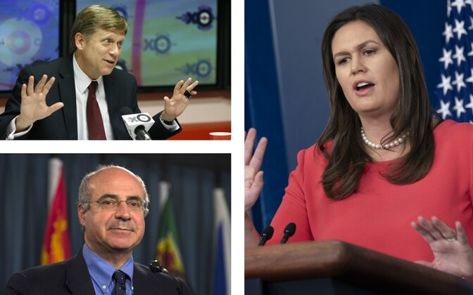 Michael McFaul (TASS), Bill Browder (PA) ja Sarah Huckabee Sanders (SIPA).