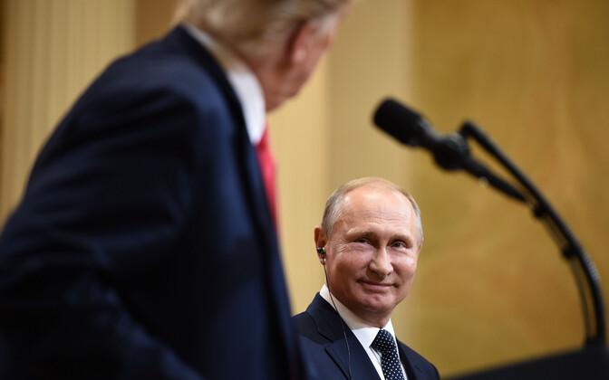 Donald Trump ja Vladimir Putin tippkohtumisel Helsingis.