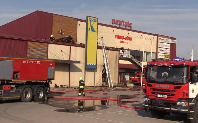 Пожар в Йыхвиском торговом центре.