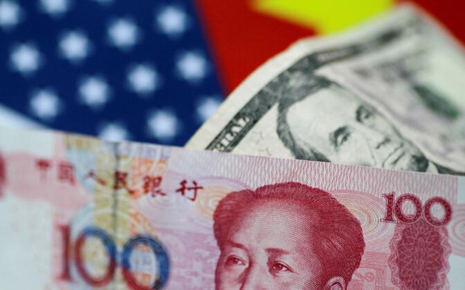 Hiina ja USA raha.