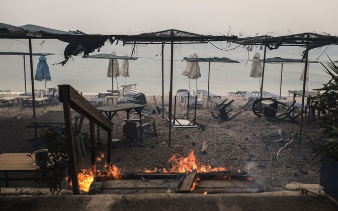 A fire ravaged a resort in Kineta, near Athens.