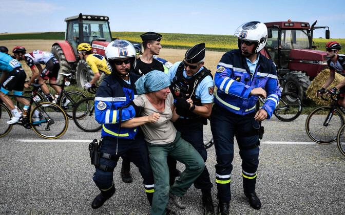 Protestiaktsioon Prantsusmaa velotuuril.