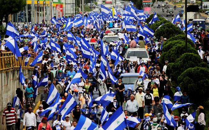 President Ortega tagasiastumist nõudvad meeleavaldajad Managuas 23. juulil.