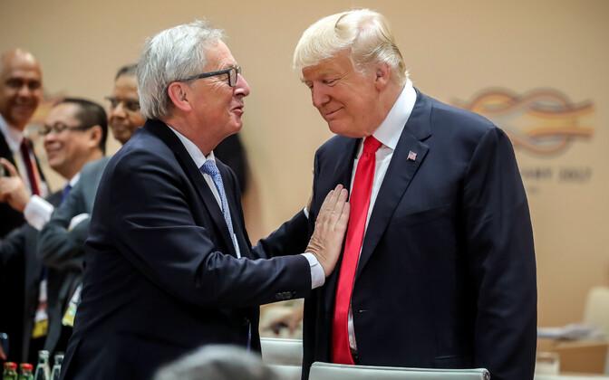 Jean-Claude Juncker ja Donald Trump eelmisel aastal hamburgis G20 tippkohtumisel.