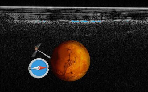 Planeedi lõunapoolusel asuvale järvele viitavad radarimõõtmised on tähistatud sinaka tooniga.