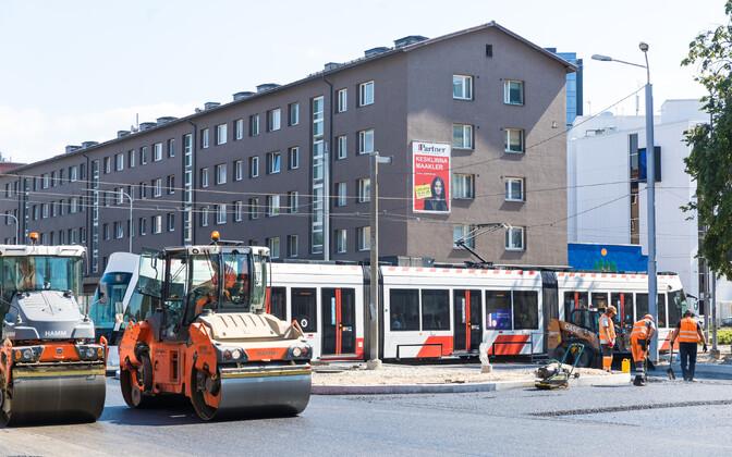 Ремонтные работы на улице Гонсиори.