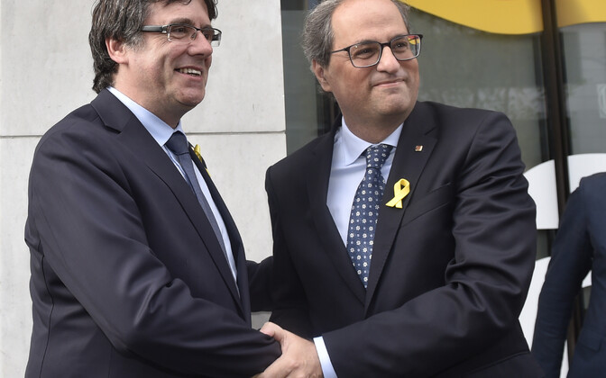 Carles Puidgedemont koos Kataloonia regionaalvalitsuse presidendi Quim Torraga Brüsselis.