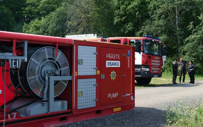 Эстонские спасатели тушат лесной пожар в Нарва-Йыэсуу.