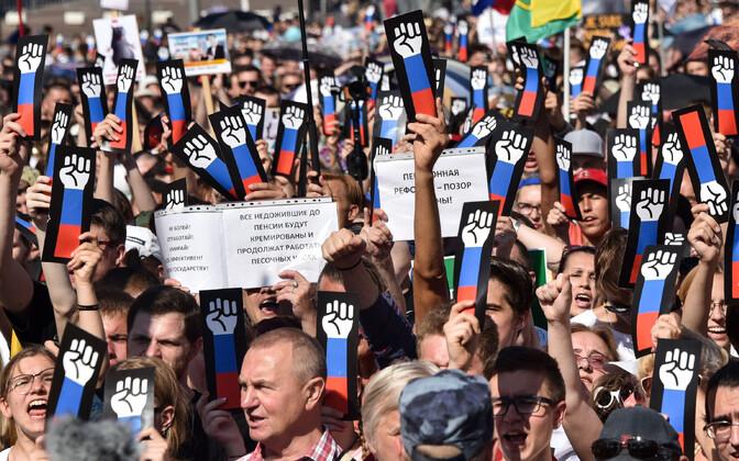 Pensioniea tõstmise vastane meeleavaldus Moskvas 29. juulil.