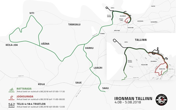 A number of roads will be closed in and around the Tallinn metro area in connection with the Ironman Tallinn on Satuday, 4 August.