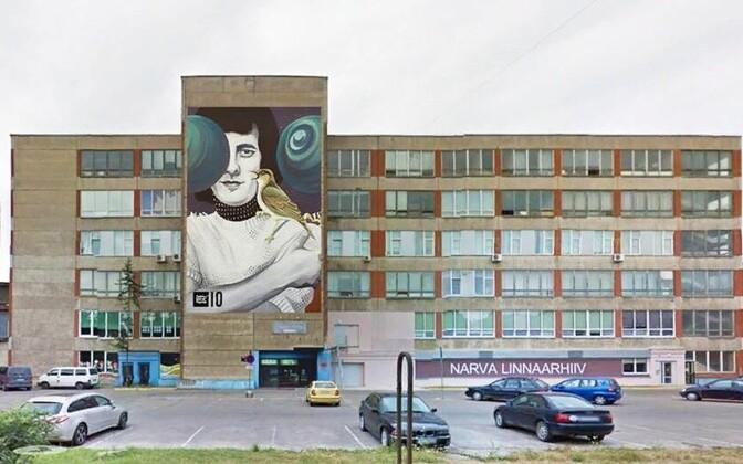 Граффити Яака Йоала в Нарве приурочили к спектаклю.