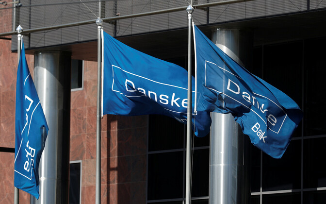 Flags in front of Danske Bank's Estonian branch in Tallinn.