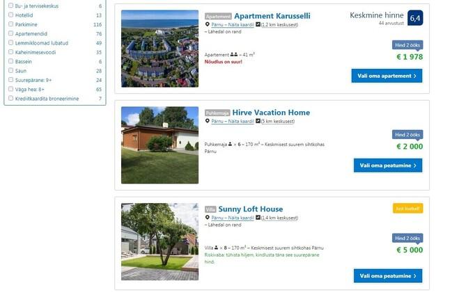 Kalleimat majutust pakub villa, mille saaks Weekendi festivali ajaks rentida kaheks ööks 5000 euro eest