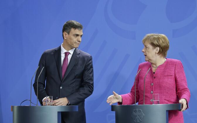 Hispaania peaminister Pedro Sanchez ja Saksamaa liidukantsler Angela Merkel 26. juunil Berliinis.