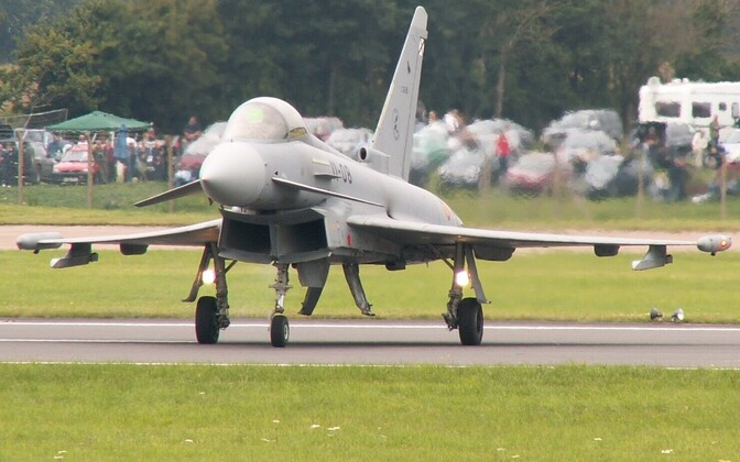 A (largely armament-less) Eurofighter Typhoon in Ejército del Aire (Spanish Air Force) service.