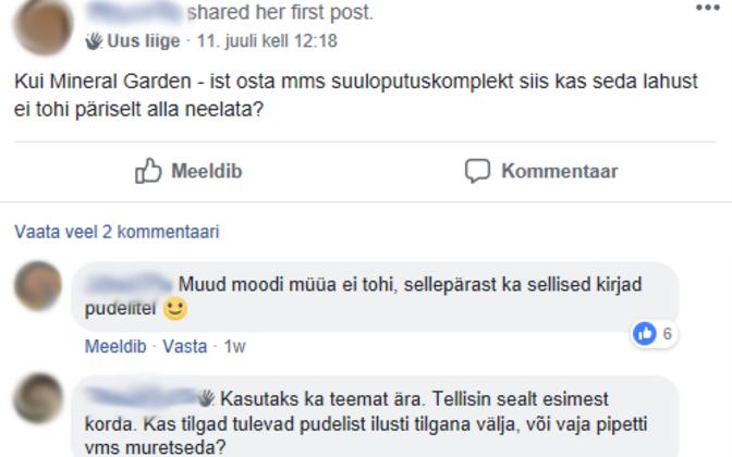 Vestluskatke Facebooki kinnisest MMS-i grupist.