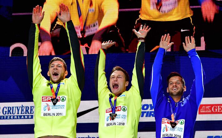 Andreas Hoffmann, Thomas Röhler ja Magnus Kirt medalitseremoonial.