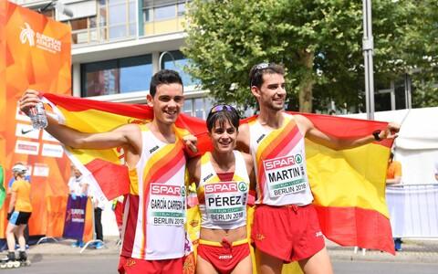 Berliini EM-il 20 km käimises võidutsenud hispaanlased Diego Garcia Carrera, Maria Perez ja Alvaro Martin