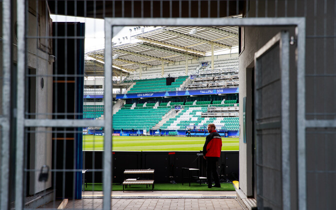 Preparations are underway ahead of the UEFA Super Cup match at Lilleküla Stadium in Tallinn.