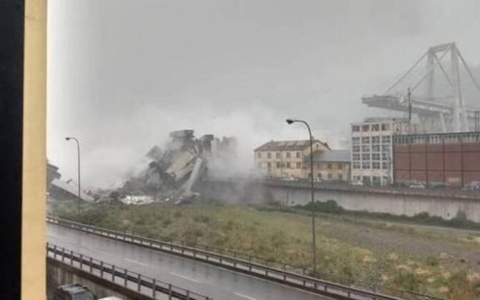 Still from footage of the aftermath of motorway bridge collapes in Genoa, Italy on Tuesday which killed at least 26 people.