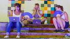 ERRi veebitoimetus Arvamusfestivalil. Marju Himma (vasakul), Allan Rajavee ja Linda Eensaar.