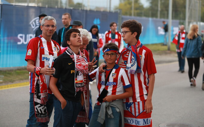 Atlético Madrid fans attending the UEFA Super Cup at Tallinn's Lilleküla Stadium on Wednesday night. 15 August 2018.