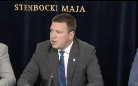 Prime Minister Jüri Ratas at Thursday's government press conference.