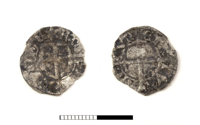 Coin minted in time of master of the LIvonian order Livonian Bernd von der Borch (1471-1483).  A lot of coins came from the Jahu street site, alongside this example were coins minted in Tartu and Novogorod, Russia.