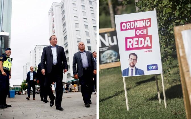 Rootsi peaminister Stefan Löfven ja Rootsi Demokraatide juhi Jimmie Åkessoni valimisreklaam.