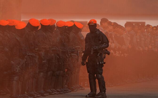 Indoneesia politsei ja sõjaväe terrorismivastane õppus Aasia Mängude eel.