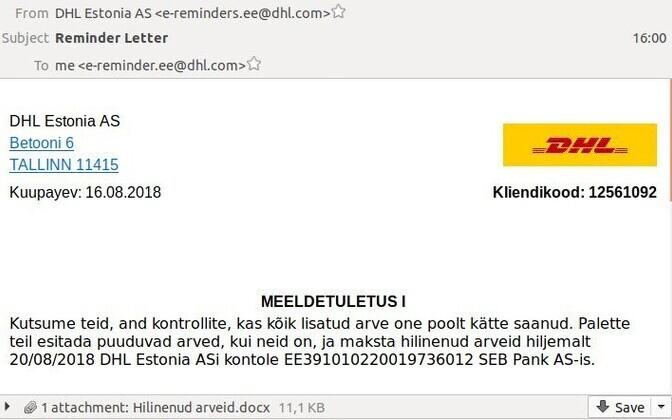 Фальшивое письмо DHL Estonia.