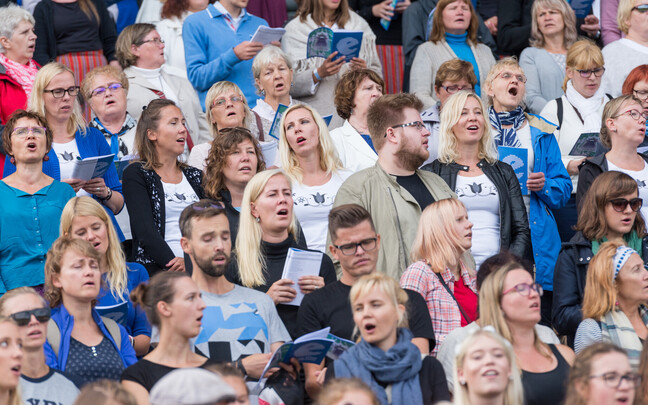 A joint singalong event held live at the Song Festival Grounds in Tallinn and virtually all over the world united over 50,000 singers on Sunday. 19 August 2018.