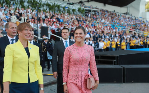Crown Princess Victoria of Sweden at the Estonia 100 singing event.